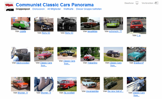 """Communist Classic Cars Panorama""-Gruppe bei flickr"