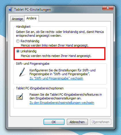 Windows 7 - Menüs linksbündig anzeigen