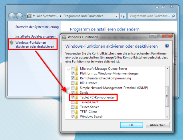 Windows 7 - Tablet PC-Komponenten aktivieren