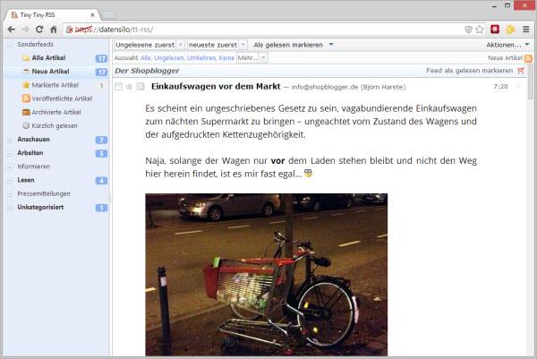 Browseransicht von TT-RSS