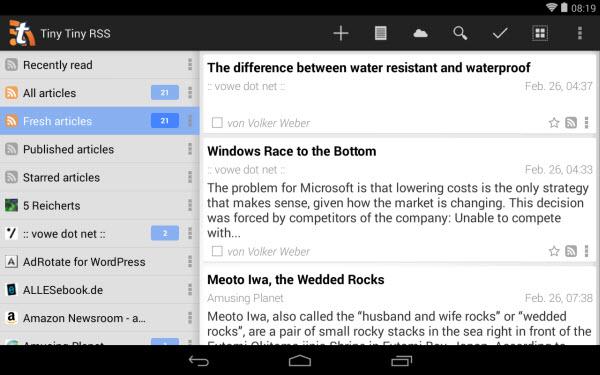 """""""Tiny Tiny RSS""""-App von Andrew Dolgov"""