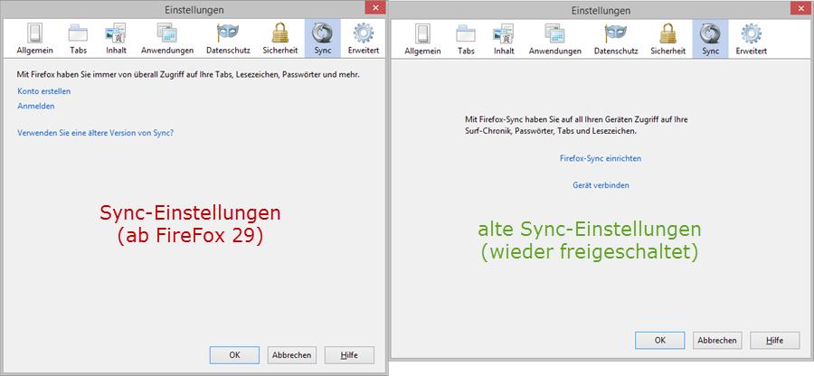 links: Sync-Einstellung im normalen FireFox - rechts: Sync-Einstellung nach Hinzuügen des Schlüssels