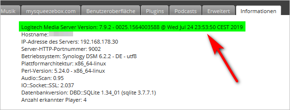Logitech Media Server 7.9.2 auf Synology DS 218+