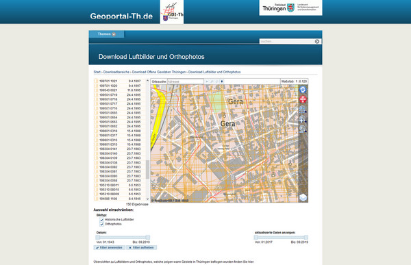 Screenshot: Geoportal Thüringen