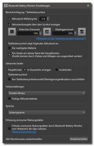 Bluetooth-Battery-Monitor-Optionen